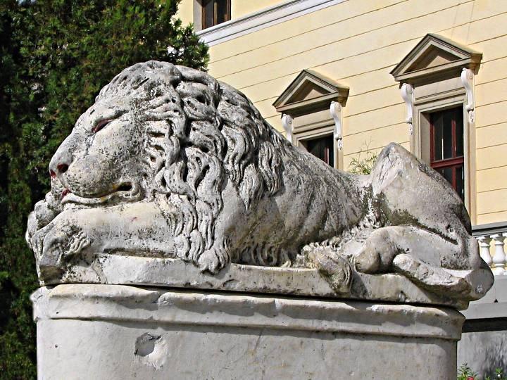 Лев у парадного входа немировского дворца княгини Щербатовой