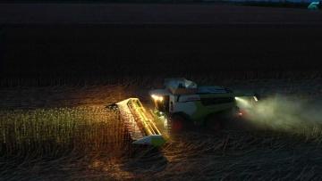 Ночная уборка подсолнечника, Харьковская область